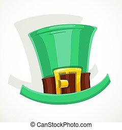 leprechaun kapelusz, sprzączka, tło, odizolowany, złoty, ...