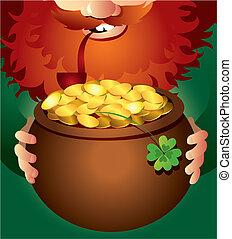 Leprechaun on Patrick's Day - Vector illustration of...