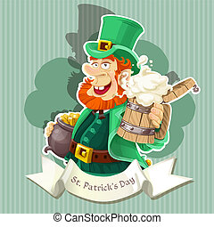 Leprechaun on poster - Cute Leprechaun with beer and pot of...