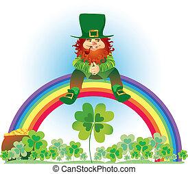 Vector illustration of leprechaun sitting on the rainbow in shamrock meadow