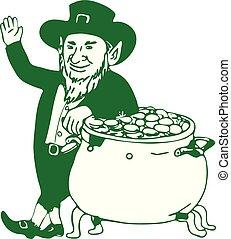 leprechaun, oro, dibujo, posición, verde, olla