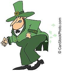 Leprechaun passing gas - This illustration depicts an Irish...