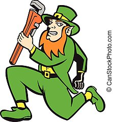 Leprechaun Plumber Wrench Running Retro