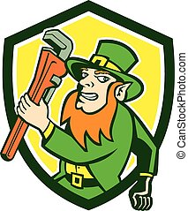Leprechaun Plumber Wrench Running Shield