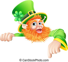 Leprechaun pointing down at sign - An illustration of a St...