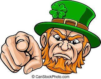 Leprechaun Pointing Finger At You Mascot Cartoon