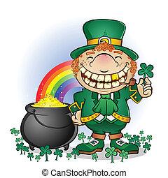 Leprechaun Pot Of Gold Cartoon