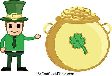 Leprechaun Presenting Gold Cauldron