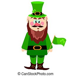 Leprechaun presenting holiday little green man vector character illustration.