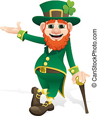 Leprechaun, presenting your product or message. No transparency used. Basic (linear) gradients.