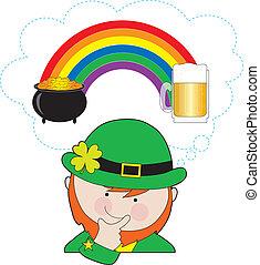 Leprechaun Rainbow Beer - A leprechaun is pondering what is...