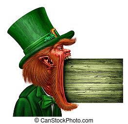 Leprechaun Saint Patrick Sign