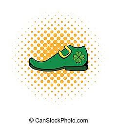 Leprechaun shoe icon, comics style