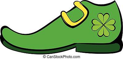 Leprechaun shoe icon, icon cartoon