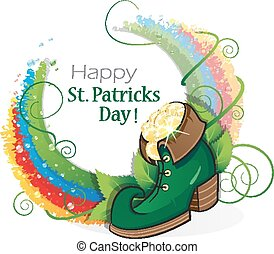 Leprechaun shoe with gold coins and rainbow