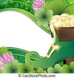 Leprechaun shoes with gold coins on clover background. St....
