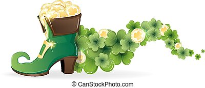 Leprechaun shoes with gold