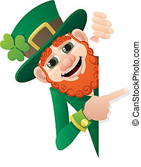 Leprechaun holding blank sign. No transparency used. Basic (linear) gradients.