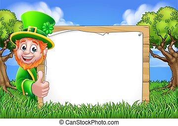 Leprechaun Sign St Patricks Day Cartoon Scene