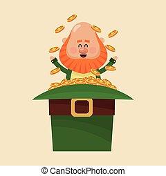 leprechaun sitting hat full gold