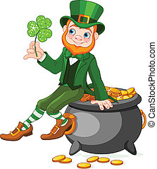 Leprechaun sitting on pot of gold - Cute cartoon Leprechaun...