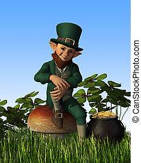 Leprechaun Sitting on Toadstool - A leprechaun is relaxing...