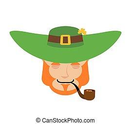 Leprechaun sleeping. Dwarf with red beard asleep Emoji. Irish elf emotions. St.Patrick 's Day. Holiday in Ireland