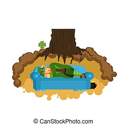 Leprechaun sleeps on couch in hole under ground. Lair of Gnome. dwarf for St.Patricks Day. national irish holiday