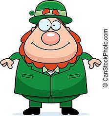 Leprechaun Smiling - A happy cartoon leprechaun standing and...