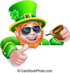 Leprechaun St Patricks Day Cartoon Sunglasses Sign