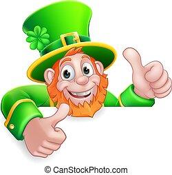 Leprechaun St Patricks Day Cartoon Thumbs Up Sign
