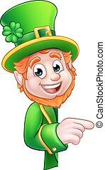 Leprechaun St Patricks Day Cartoon Mascot Pointing - Cartoon...