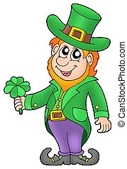 Leprechaun with four leaves clover - color illustration.