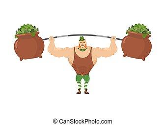 Leprechaun strongman. Powerful leprechaun athlete and rod....