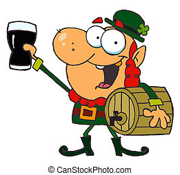 Leprechaun Toasting With A Glass And Carrying A Keg