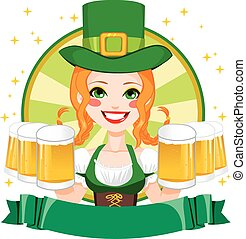 Leprechaun Waitress Woman Banner - Pretty Saint Patrick girl...