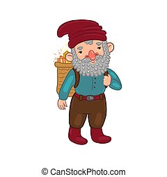 Leprechaun with a basket of diamonds Isolated on a white background. Vector graphics.
