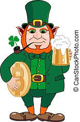 Leprechaun with a mug of beer, a smoking pipe and bitcoin. St. Patrick's Day