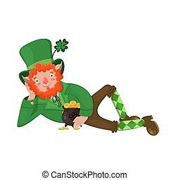 Leprechaun with a pot of coins Isolated on a white background. Vector graphics.