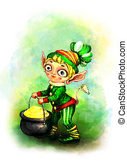 Leprechaun with a pot of gold and clover