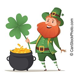 Leprechaun with a pot of gold and four leaf clover and luck....