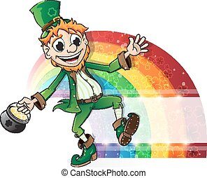 Leprechaun with a pot of gold and r