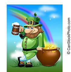 Leprechaun with beer and gold - Irish man with mug beer and...