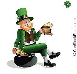 Leprechaun with beer and pot of gol