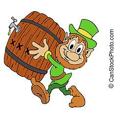 Leprechaun With Beer - hand drawn cartoon Leprechaun...