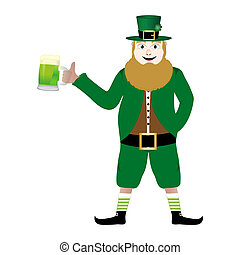 leprechaun with beer St. Patrick's