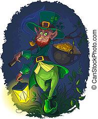 Leprechaun with gold coin pot - Vector illustration of...