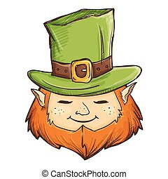 Leprechaun With Green Hat Hand Drawing