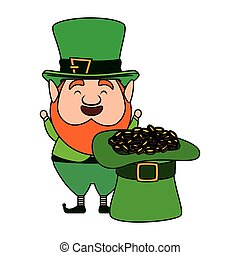 leprechaun with hat and coins saint patrick