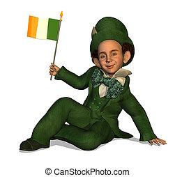 Leprechaun with Irish Flag
